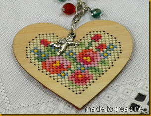 wooden heart cross stitch