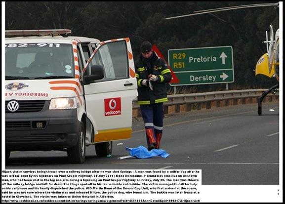 SPRINGS HIJACKING VICTIM SURVIVES SHOTS DUMP OFF BRIDGE JULY292011