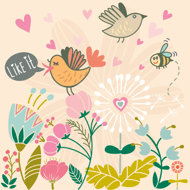 Illustration birds flowers summer
