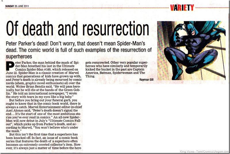 Times od India Chennai Edition Dated 26062011 Chennai Times Variety Section Resurecction of Super Heroes