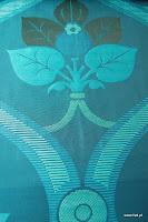 """Tkanina ozdobna typu """"adamaszek"""". Dwustronna. Na zasłony, poduszki, narzuty, dekoracje. Niebieska."""