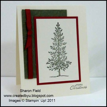 The_Sounding_Joy, Sharon_Field, Brushed_Gold,Quilted_Satin_Ribbon, CAS, 5_minute_Cards, Christ_The_King, camp, Holiday Mini Catalog, Lovely_As_A_Tree, Petite_Pairs