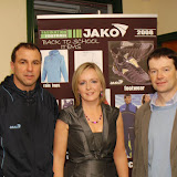 Mary Henry, John Mc Hugh with Nick Brujos, sponsor of the Singles Ladder