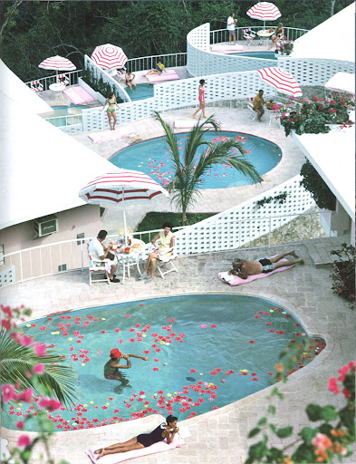 I love the idea of decorating the pool with floating petals. Lo Concha Beach Club, Acapulco, Mexico, 1968. (Poolside With Slim Aarons, Abrams)