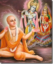 Lord Chaitanya worshiping Radha and Krishna