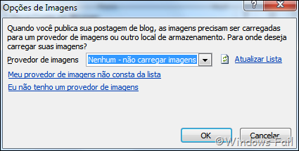 Se não usar imagens na postagem, selecione a opção Nenhum – não carregar imagens. Se for usar, clique em Meu próprio servidor e especifique a URL de carregamento e a URL de origem (avançado)