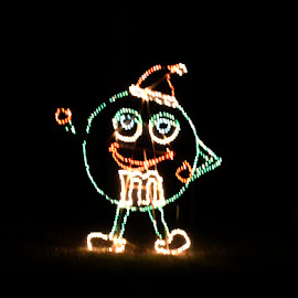 Green M&M by Linda Blevins - Abstract Light Painting ( lights, m&m, christmas )