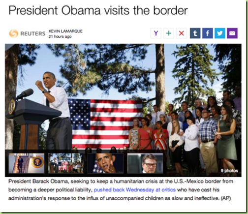 reuters 'obama visits border' only he doesnt