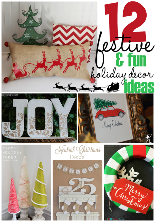12 Festive & Fun Holiday Decor Ideas at GingerSnapCrafts.com #holiday #decor