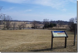 View of the Upperville battlefield behind the Civil War Trail marker