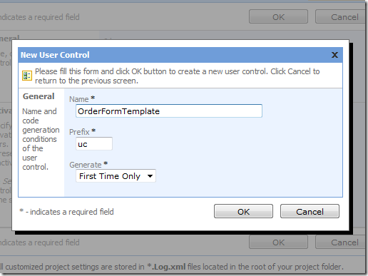 New User Control 'OrderFormTemplate'