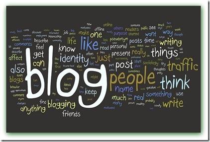 Imagem de quadro com palavras sobre blog