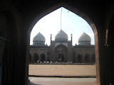 The mosque also has three huge bulbous domes.