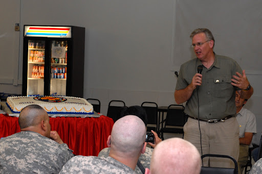 Gov. Jay Nixon expresses his appreciation to the soldiers of Task Force Phoenix in Afghanistan on July 20.  (photo courtesy: U.S. Department of Defense)