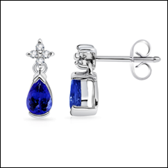 Pear Tanzanite and Diamond Dangling Earrings
