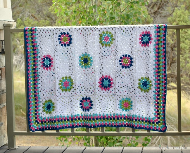 Blue, pink, and green granny square blanket // www.maybematilda.com