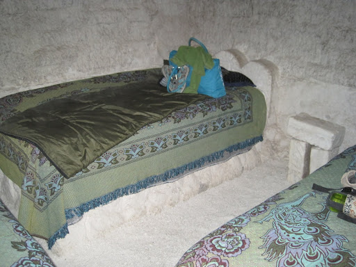 Our comfy beds in the salt hostel.