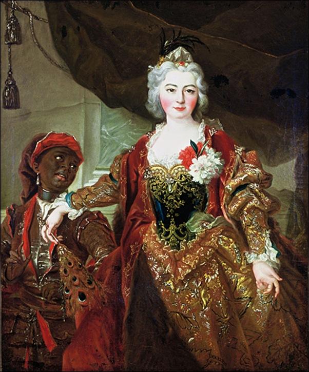 Dame de cour et enfant noir