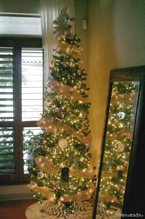 neutral burlap christmas tree