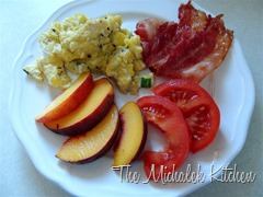 Bacon Tomato n Scrambled Eggs w Peaches