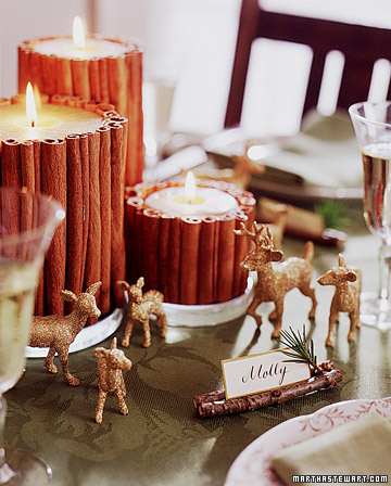 A little sparkle transforms inexpensive toys into shimmering decorations for the dining table.