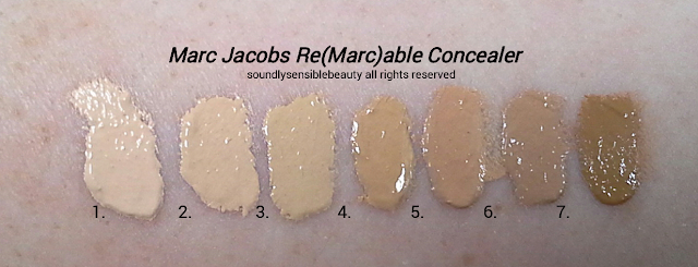 Marc Jacobs Re(Marc)able Full Coverage Concealer; Review & Swatches of Shades- 1. Awake (Ivory), 2. Alive (Bisque), 3. Young (Beige), 4. Glow (Golden),  5. Perfect (Fawn), 6. Fresh (Cocoa), 7. Bright (Deep)