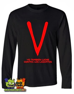 Camisetas divertidas con logo V los visitantes - Yo también luché contra los lagartos