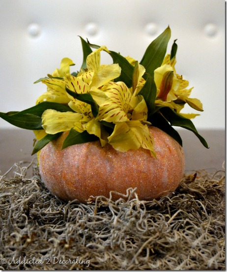 miniature pumpkin vase--glittered pumpkin