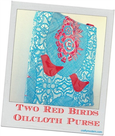 Two Red Birds Oilcloth Purse by CraftyModern on Etsy