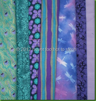 fabrics - turquoise and purple