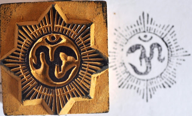 Wooden Block Om Stamp