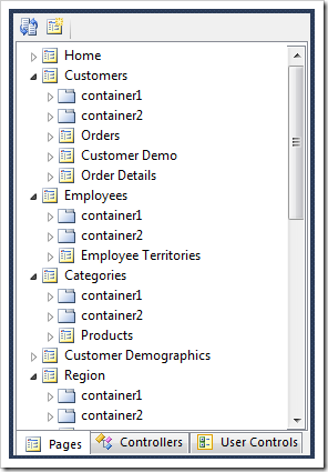 The Project Explorer displays a hierarchy of pages and page elements.