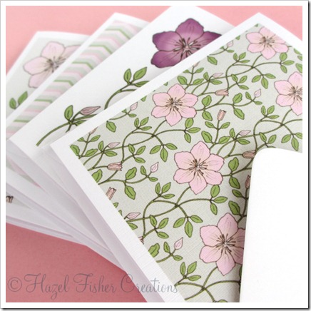 Clematis set of 4 small square note cards 1