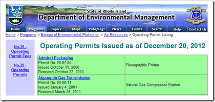 Rhode Island Department of Environmental Management Air Operating Permits