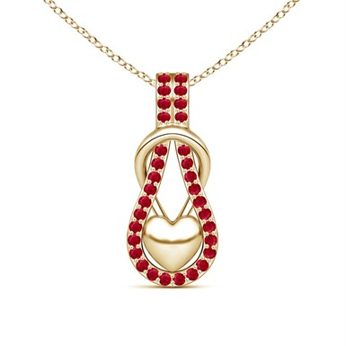 Ruby Encrusted Love Knot Heart Pendant