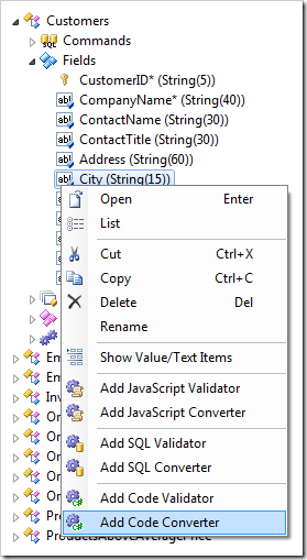Add Code Converter context menu option in Code On Time's Project Explorer.