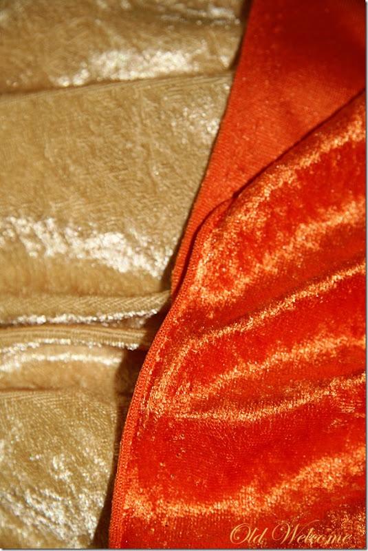 gold and orange crushed velvet fabric