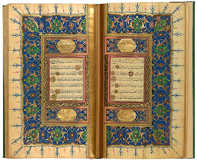 "urkish Qur˒an by Pashāzāde Qur˒an, in Arabic. Turkey, probably Istanbul, 1832–33, written by Pashāzāde. On paper. Unlike late Kashmiri Qur˒ans, those made in Turkey are often fully documented, providing not only a date but the name of the scribe and often that of his teacher. According to the colophon, the manuscript was written in 1832–33 by ˓Alī al-Rusdī al-Asbārtavī, known as Pashāzāde, a student of al-Ḥājj Ḥāfīz Mustafa Ḥelvī, known as Helvajizāde. This sarlauḥ marks the opening of the Qur˒an, with sura 1 (al-Fātiḥa, or ""The Opening."") on the right, and sura 2 (al-Baqarah, or ""The Heifer"") on the left. The text is written in naskh script, and the end of each verse is marked by a rosette. Sura headings, in the cartouches, are written in a white, cursive script."