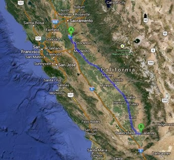 map lodi to bakersfield