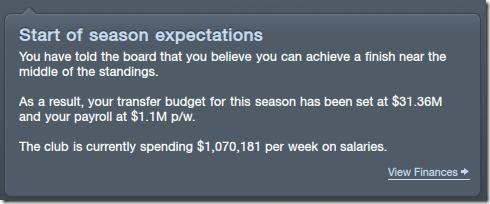 Season expectations and transfer money