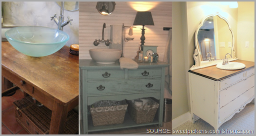 An old dresser can be turned into your new bathroom vanity! CLICK to enlarge image.