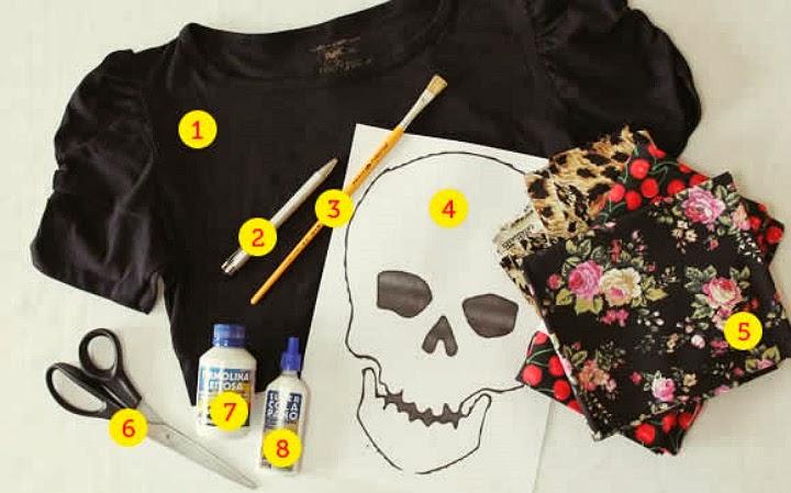 customizar camiseta feminina caveira
