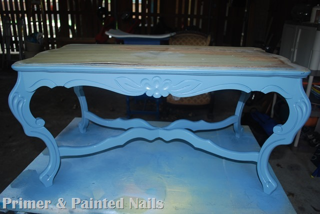 Curb Coffee Table Before Painted Bottom - Primer & Painted Nails