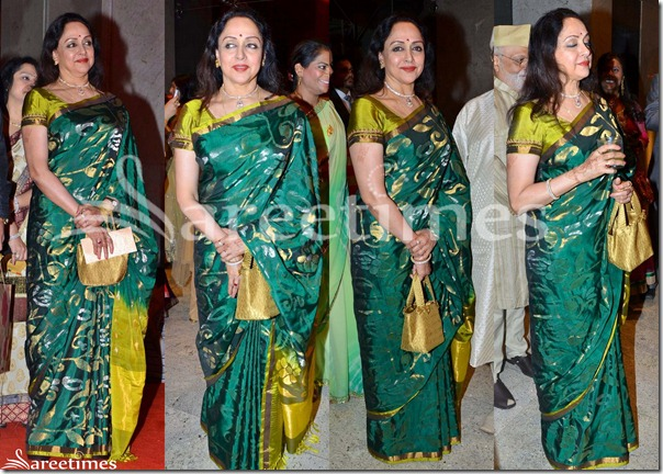 Hema_Malini_Green_Silk_Saree
