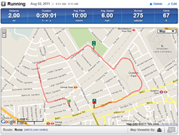 Example route from RunKeeper
