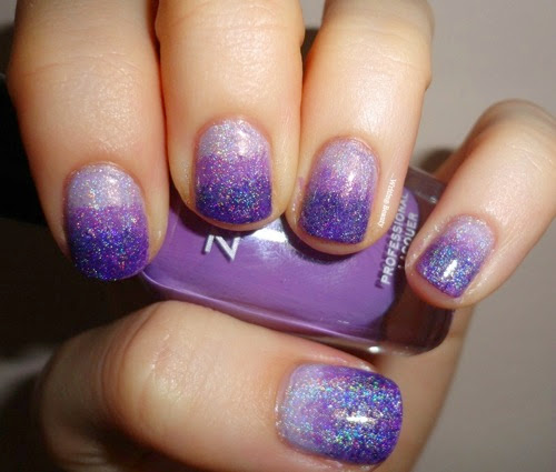 Purple Holographic Ombre Nail Look