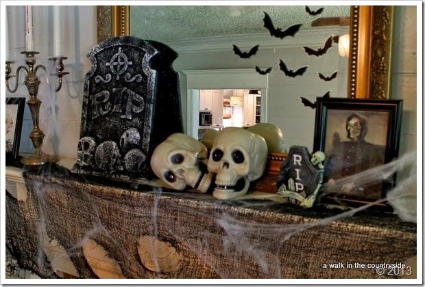 spooky halloween mantel
