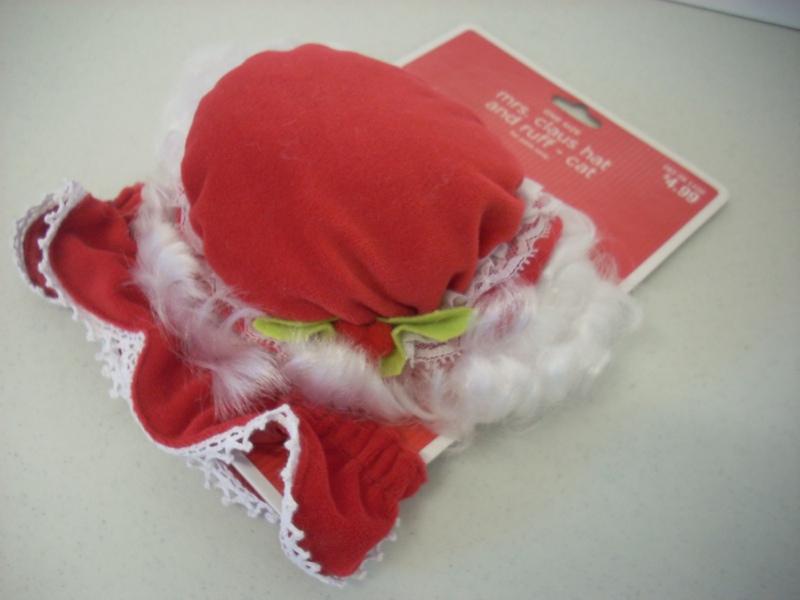 Mrs claus pet hat and ruff cat dog santa christmas ebay