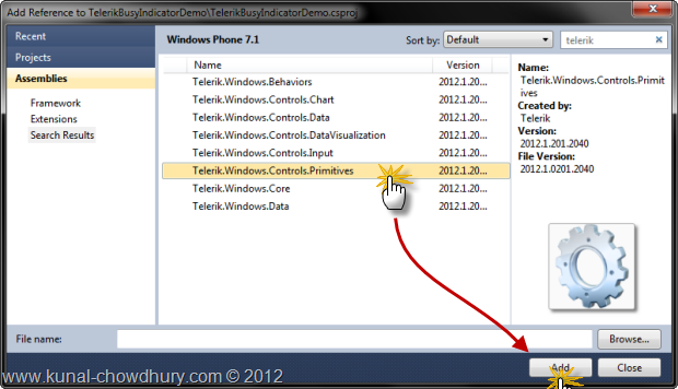 Working with wp7 radbusyindicator control from telerik for Telerik window