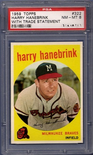 1959 Topps 322A harry hanebrink with trade statement front